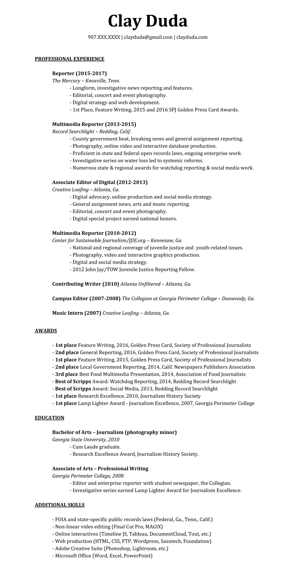 View A Resume | Resume Awards Clay Duda