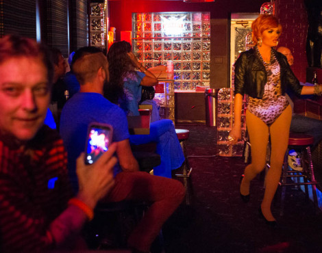"""Petunia,"" in leopard print, struts to the stage during a drag show at Club XYZ in Happy Holler on Thurs., Oct. 8, 2015."