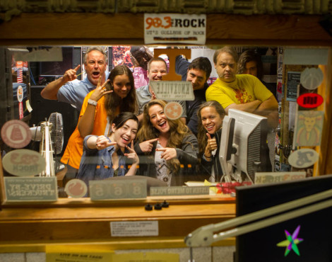 WUTK DJs cram into the college radio's small studio space on National College Radio Day, Fri., Oct. 2, 2015.